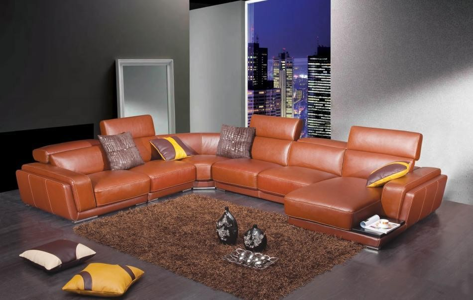 2996 - Modern Brown Leather Sectional Sofa : boston interiors sectional - Sectionals, Sofas & Couches