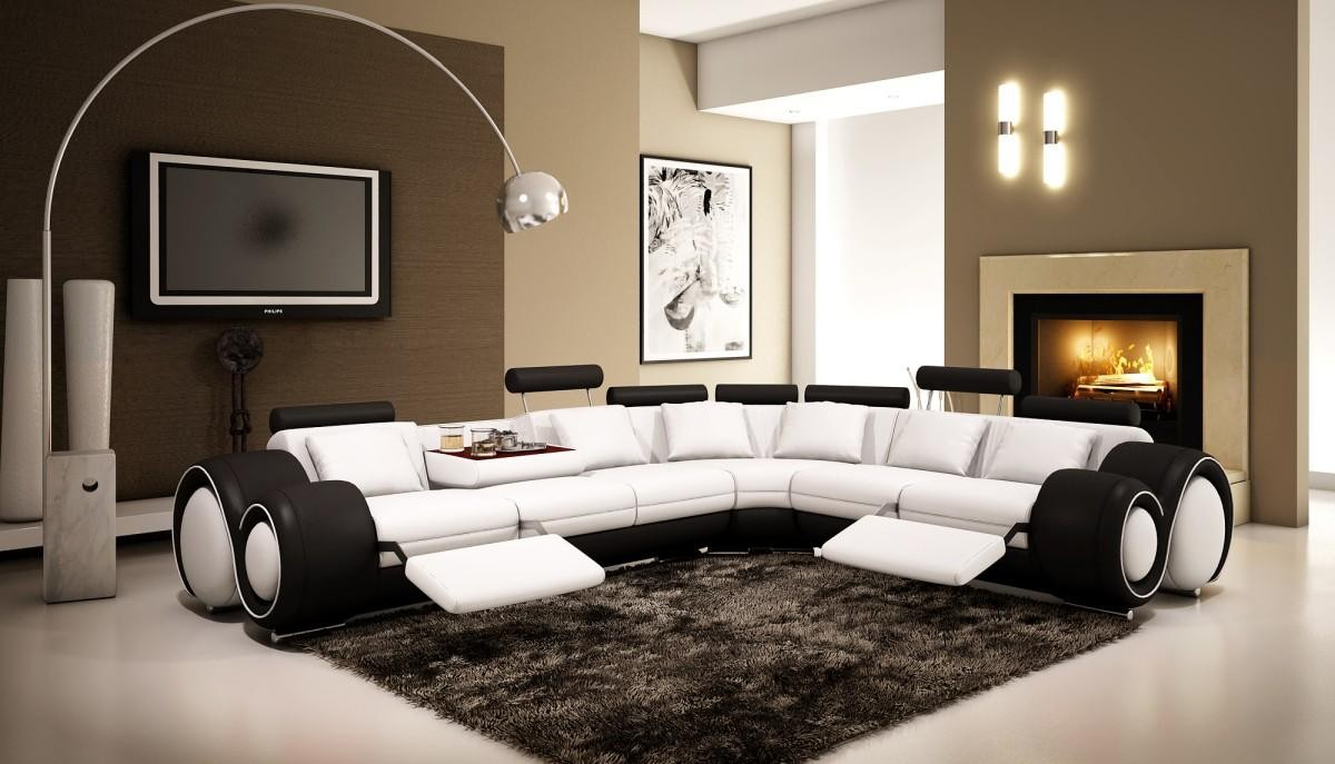4087   Black And White Half Leather Sectional Sofa With Recliners