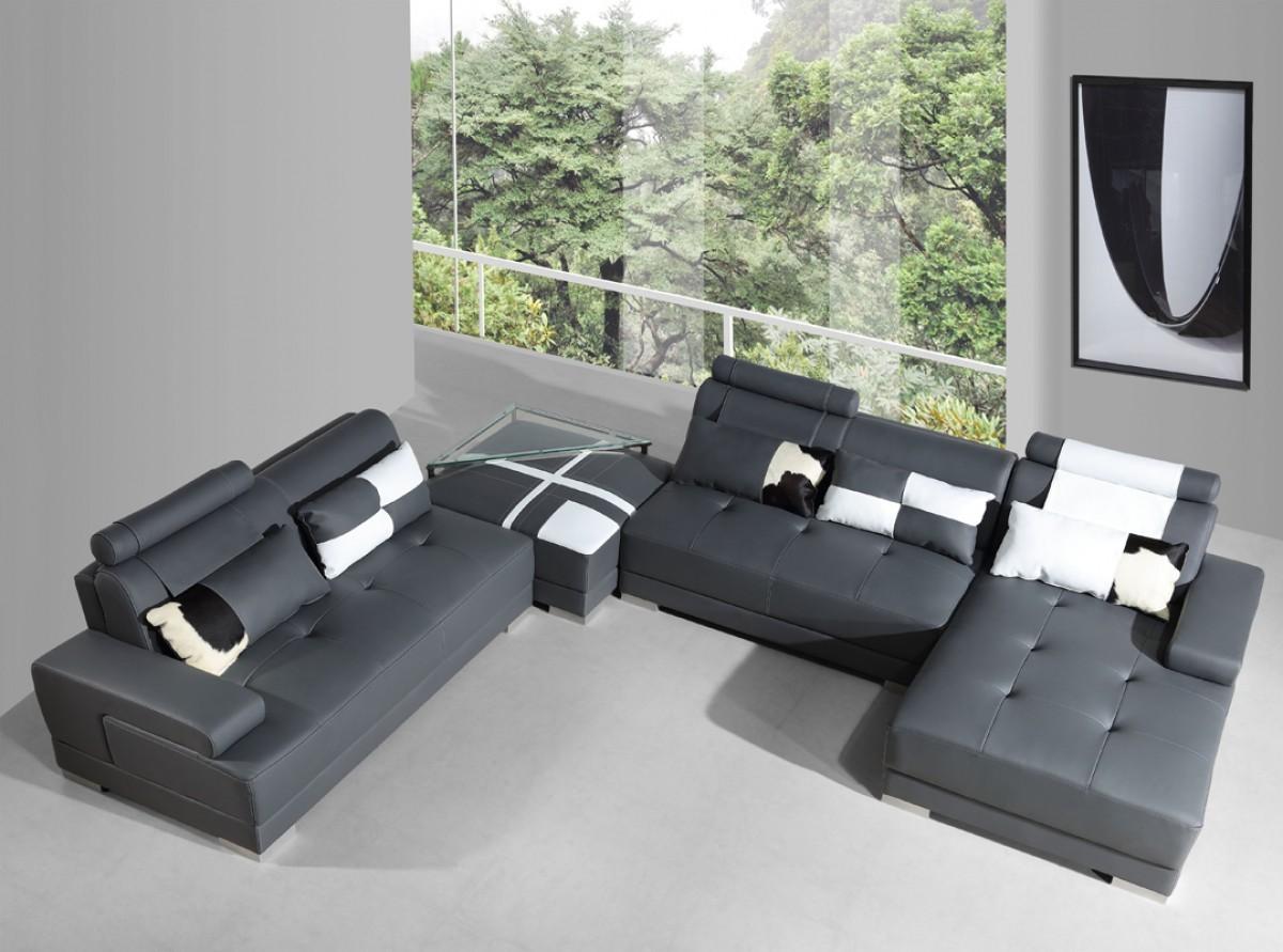 5005 Phantom Leather Sectional Grey