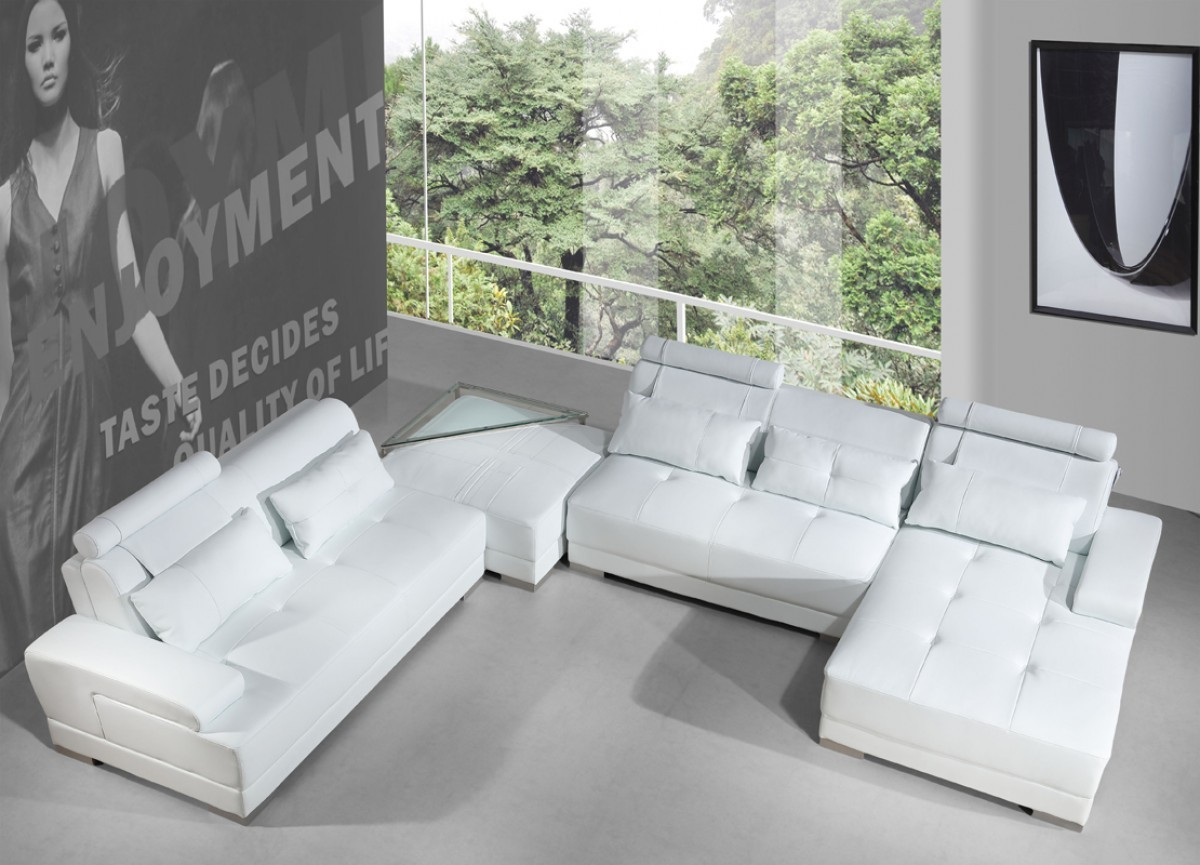 5005 Phantom Leather Sectional White