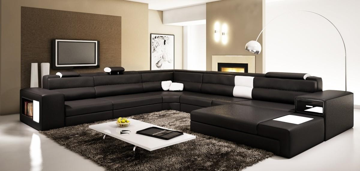 Polaris - Black Contemporary Bonded Leather Sectional Sofa buy from