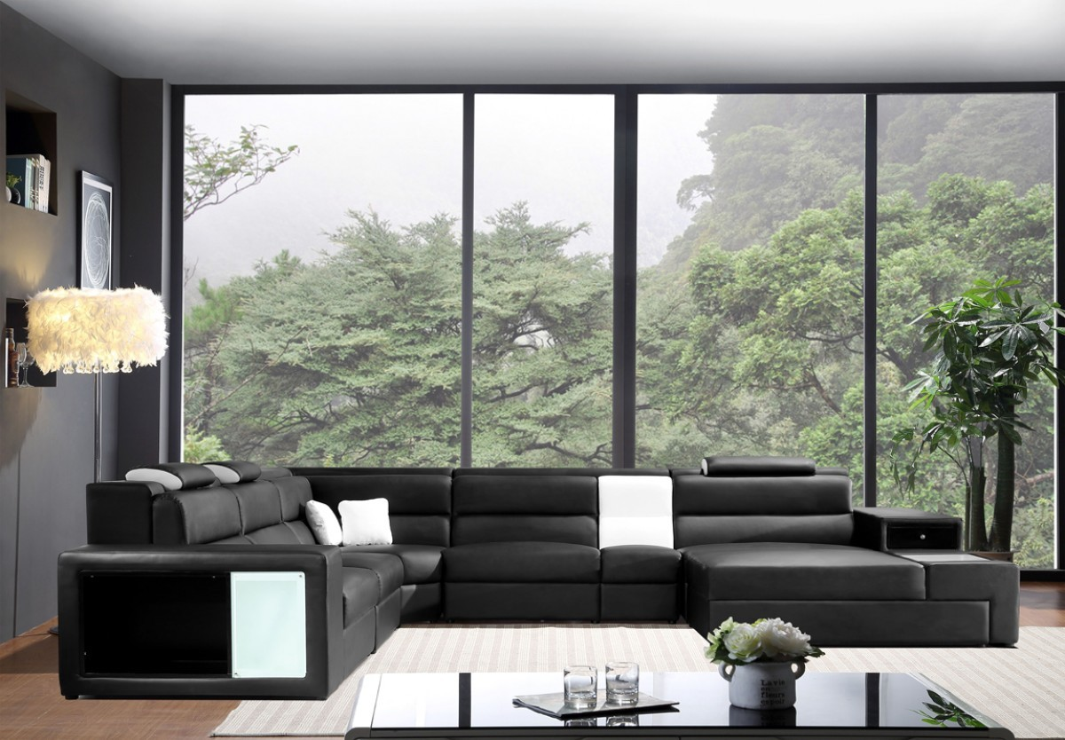 5022  leather sectional Black Color