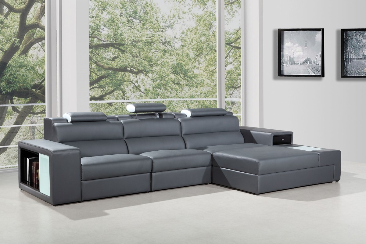 5022 B leather sectional Grey