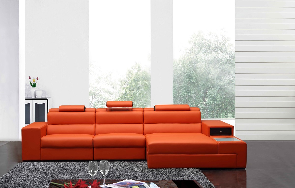 5022 B leather sectional Orange