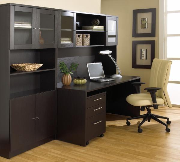 """63"""" Desk & Mobile Pedestal Shown with 63"""" Hutch & Bookcase"""