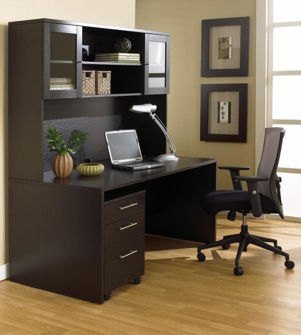 "63"" Desk & Mobile Pedestal Shown with 63"" Hutch"