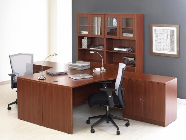 Double Workstation Shown with (2) 2-Door Cabinets & Bookcases