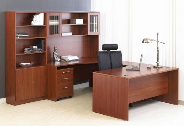 """3""""  U-Group w/Mobile Pedestal Shown with 63"""" Credenza & Hutch"""