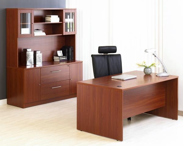 """63"""" Desk Shown with 63"""" Credenza & Hutch"""