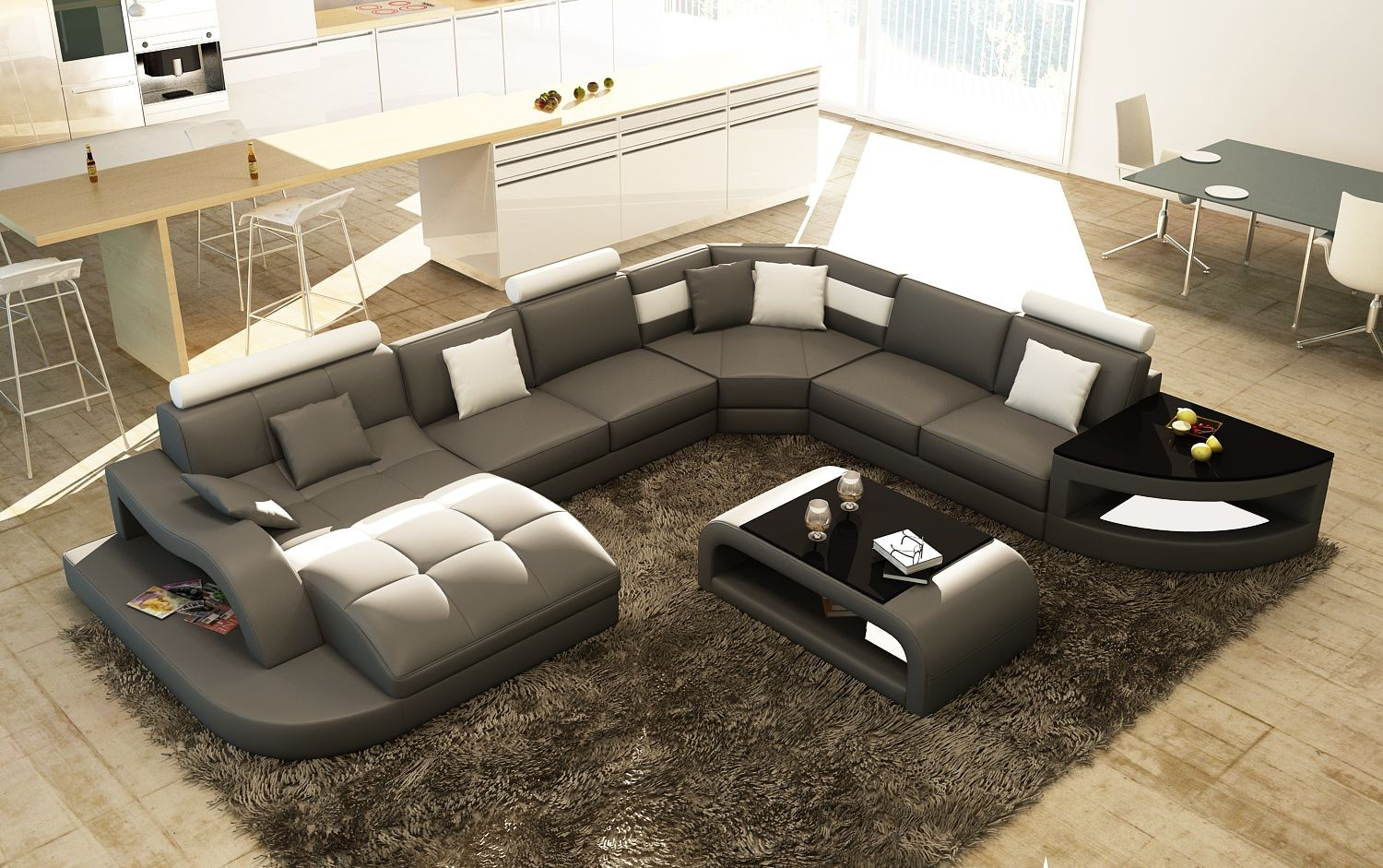 Valeria leather sectional with end table