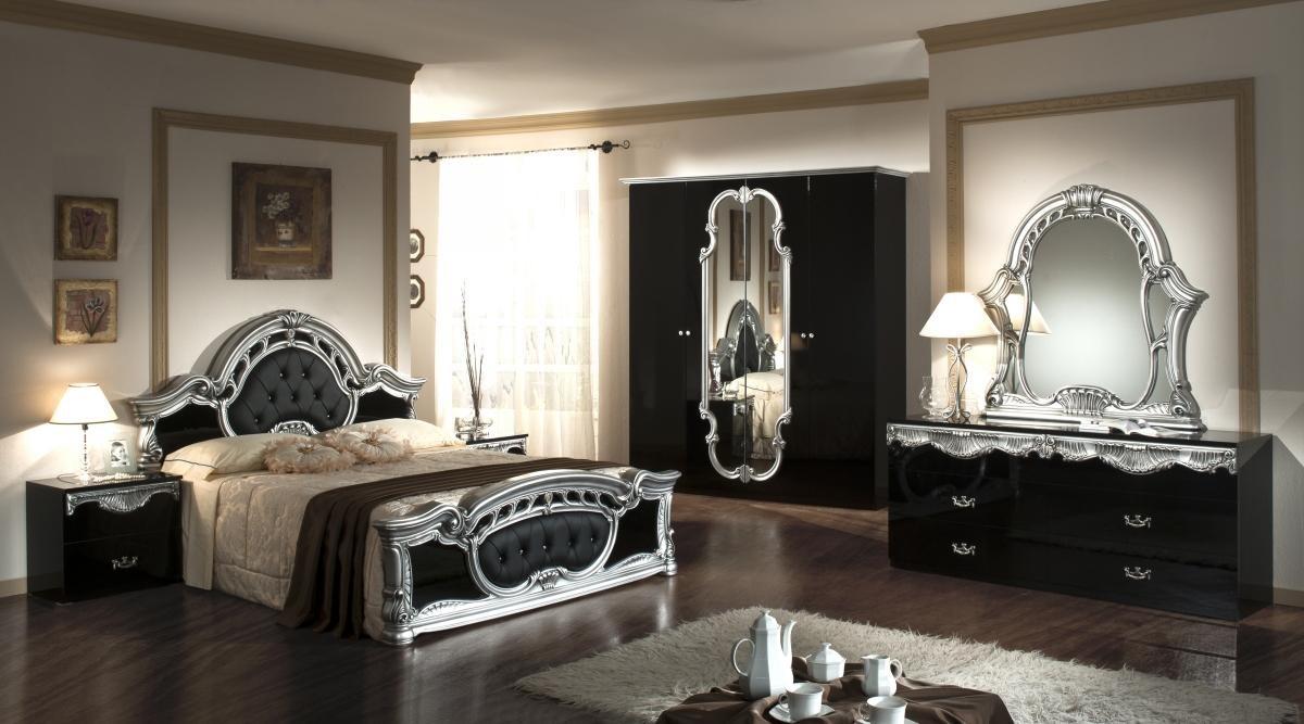 rococo - italian classic black-silver bedroom set nova interiors