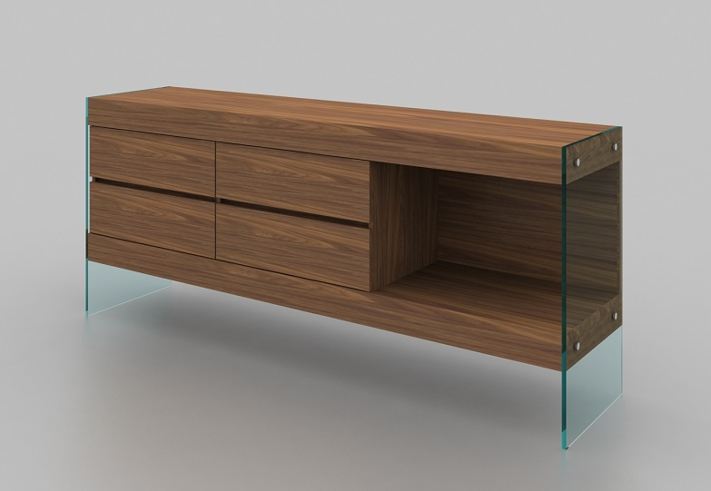 Elm Modern Buffet with glass legs