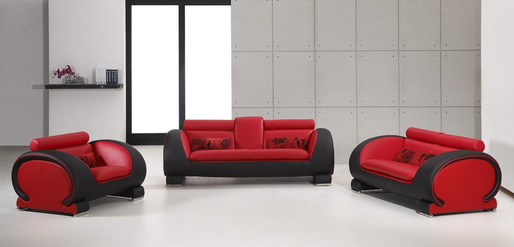 2811 Red Black Bonded Leather Sofa Set NOVA Interiors
