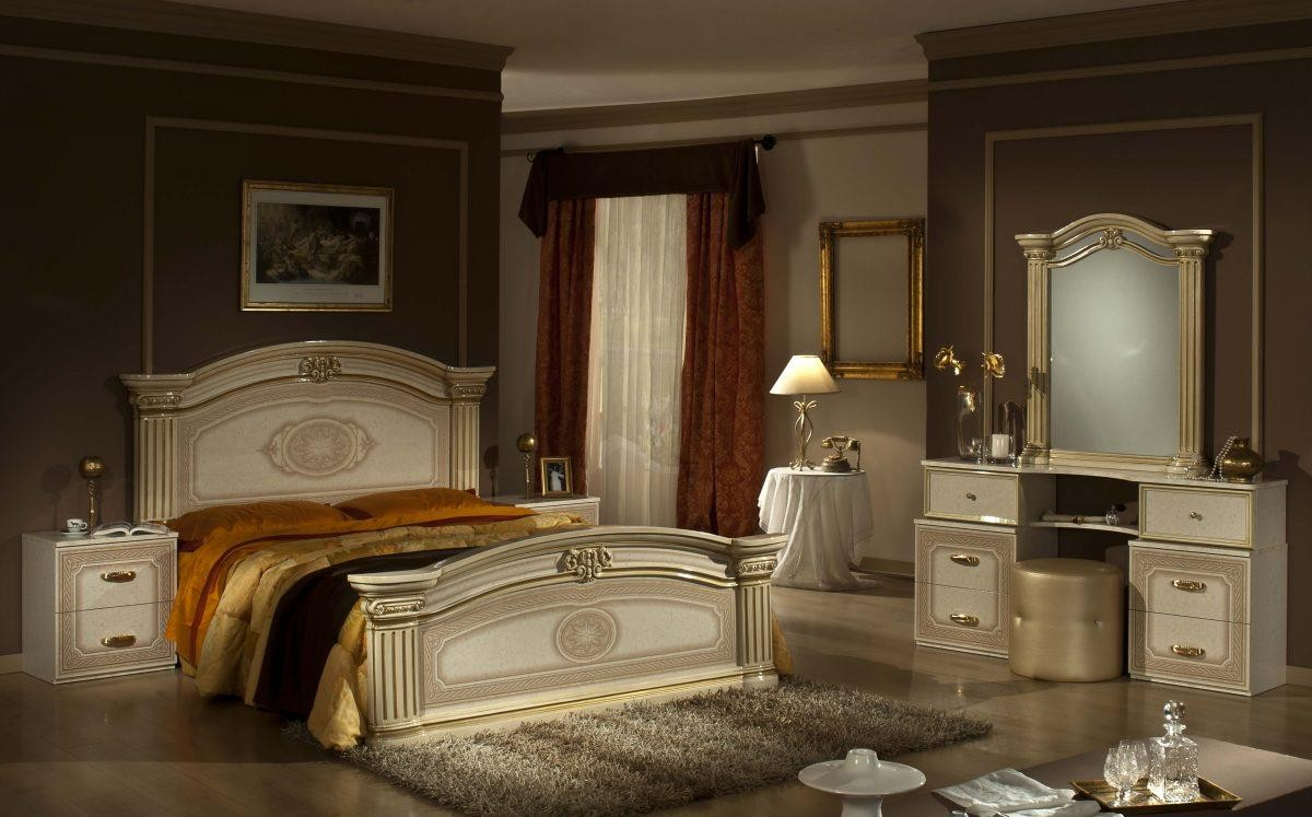 Opera - Italian Classic Beige-Gold Bedroom Set