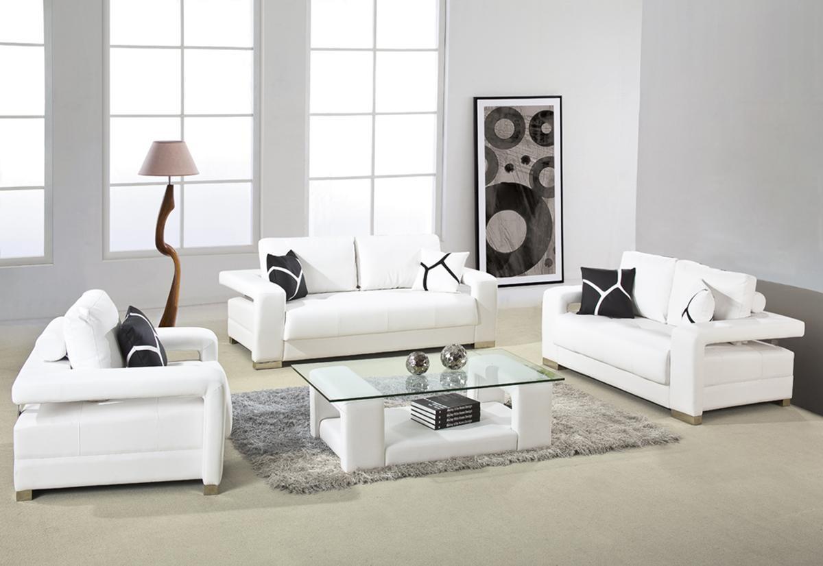 2926 - White Bonded Leather Sofa Set