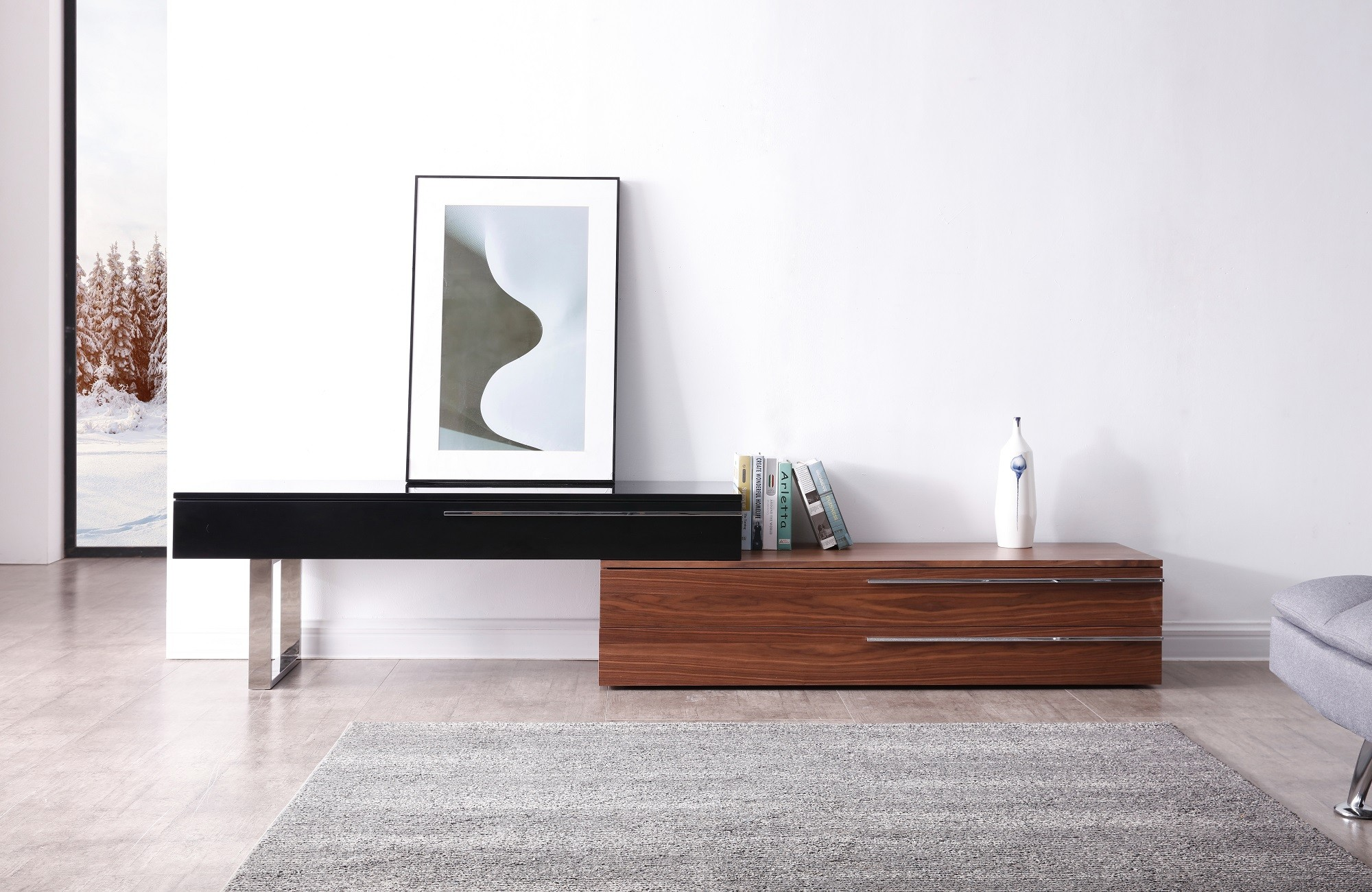 Hudson TV Base in Walnut & Black