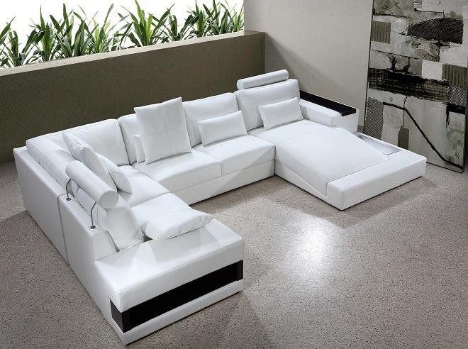 Diamond - White Leather Sectional Sofa with Lights buy from NOVA