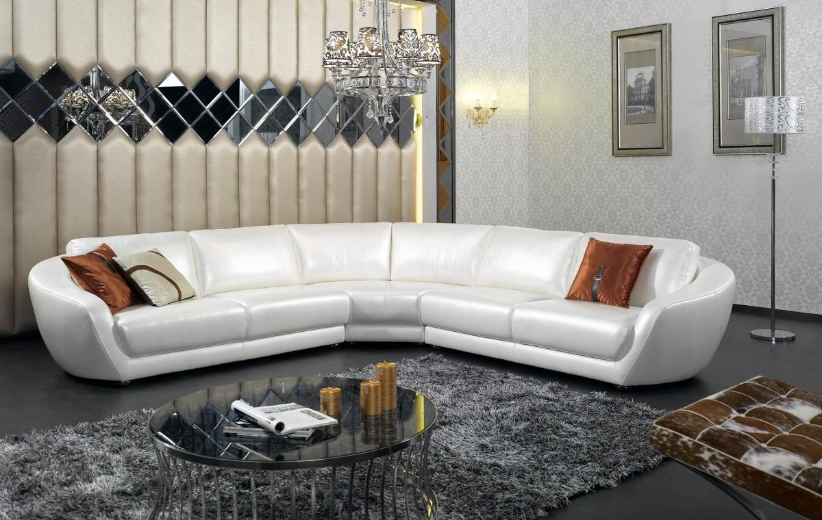 Modern Italian White Pearl Leather Sectional Sofa