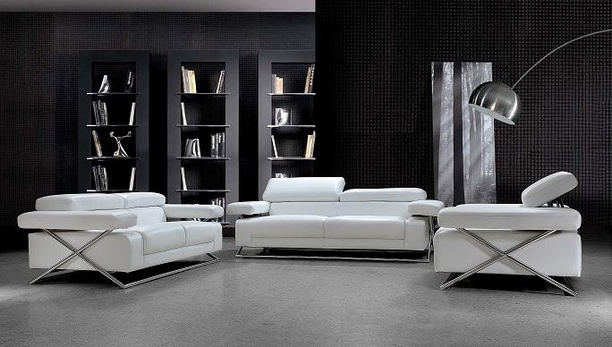 Genial Linx Modern White Leather Sofa Set