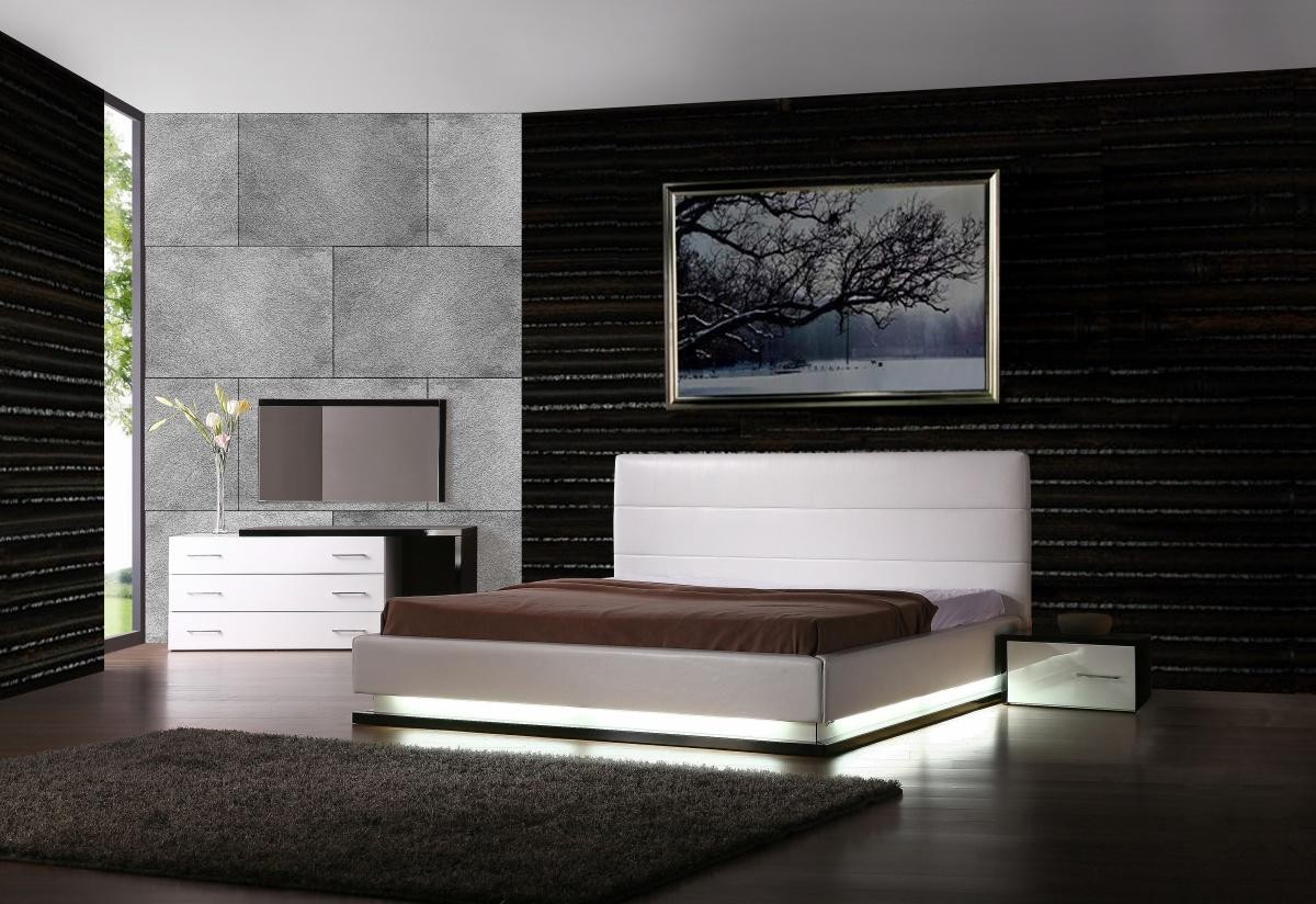 modern platform bed with lights. Infinity - Contemporary Platform Bed With Lights Modern L