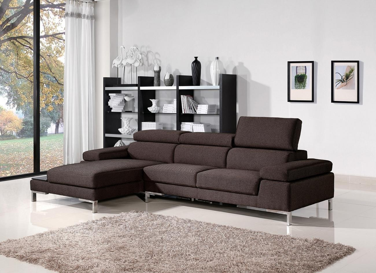 1103   Fabric Brown Sectional Sofa