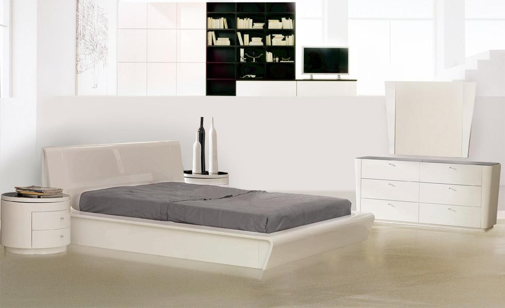 Symphony Contemporary White Lacquer Bed