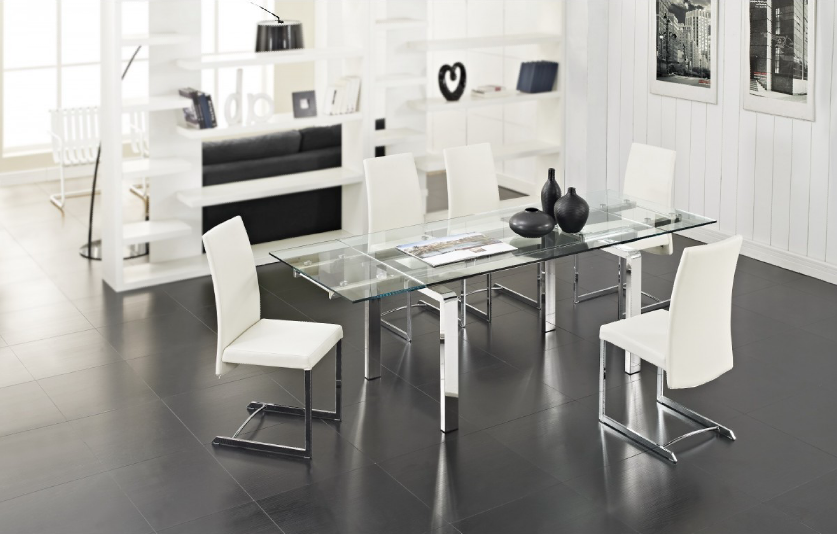 Stark glass dining table
