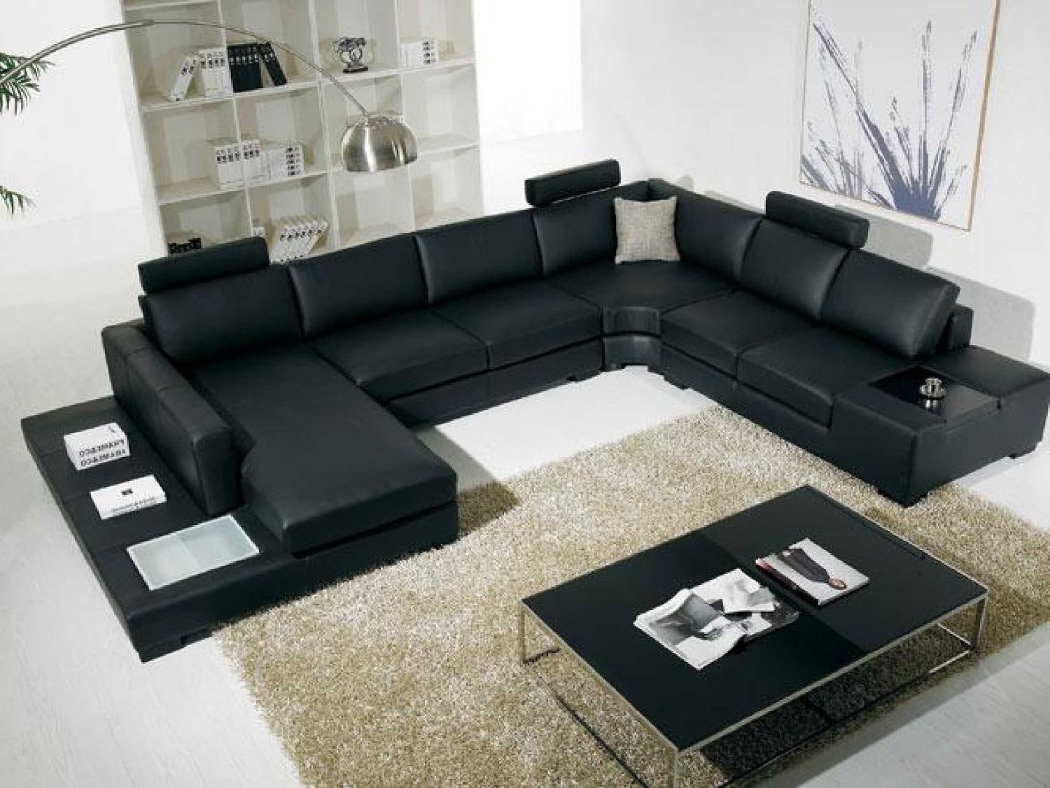 T35 Leather sectional | Black Leather | Nova Interiors