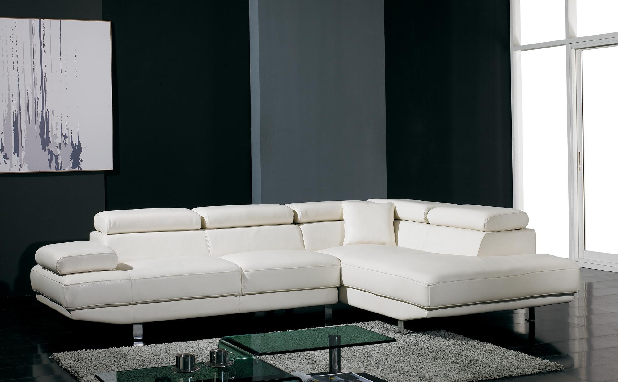 T60   White Bonded Leather Sectional Sofa Set