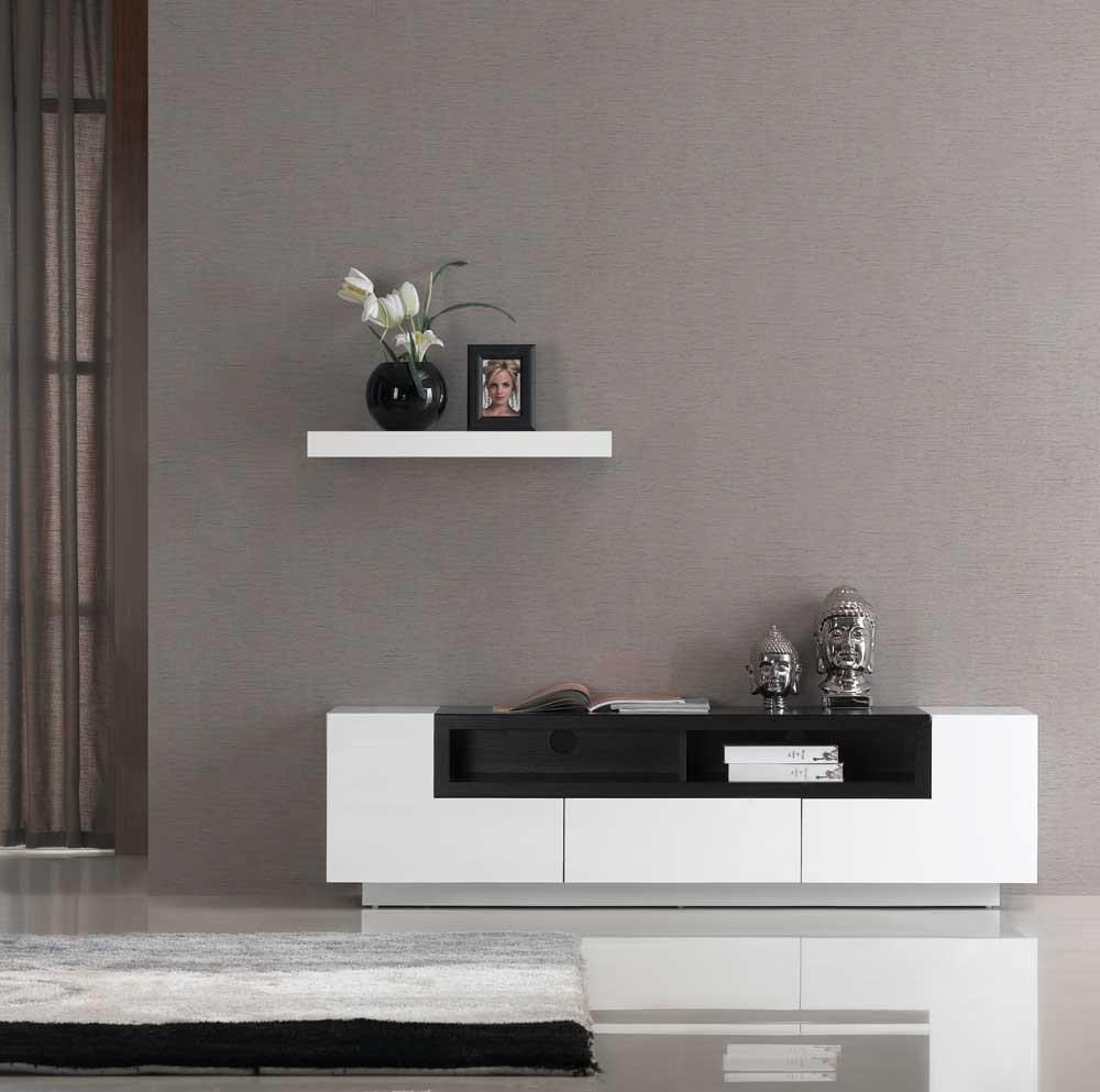 TV002 White Gloss Dark Oak