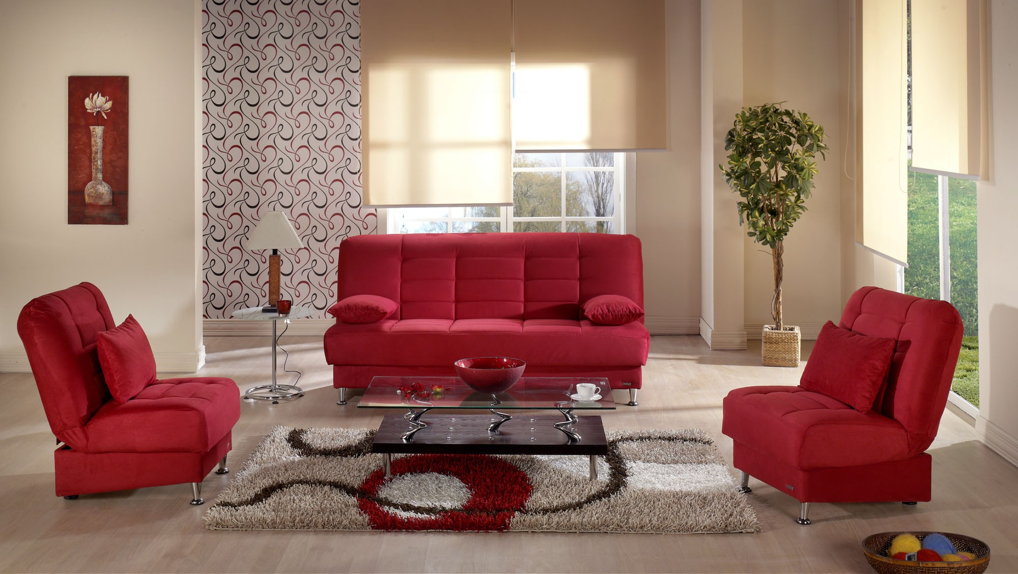 Vegas 3 seat sleeper Rainbow red By Sunset from NOVA interiors