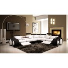 4087 - Black and White Half Leather Sectional Sofa with Recliners
