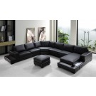 Ritz - Modern Black Bonded Leather Sectional Sofa Set