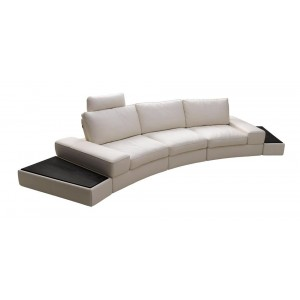 K-1295B White Full Leather Sectional Sofa Set