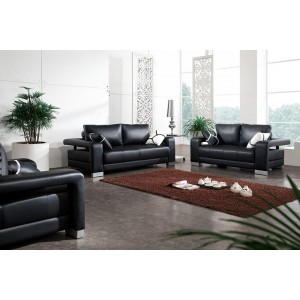 2926 - Black Bonded Leather Sofa Set