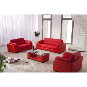 2929 - Red Bonded Leather Sofa Set with Coffee Table