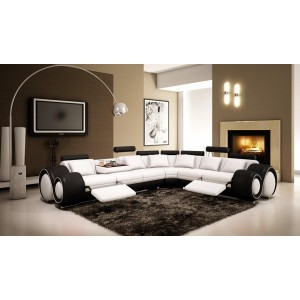 4087 - Black and White Bonded Leather Sectional Sofa with Recliners