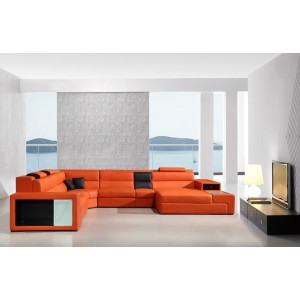 5022  leather sectional Orange Color