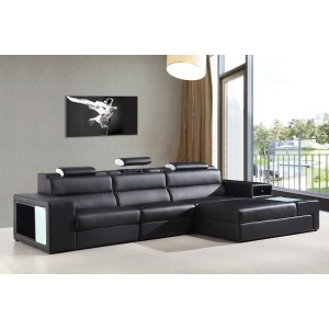 5022B leather sectional Black