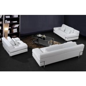 0725 - Modern White Leather Sofa Set