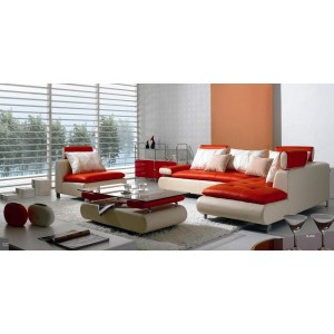 B 205 - Modern Contemporary White and Red Sectional Sofa Set