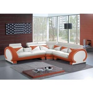 7392 Orange&White Sectional Sofa Set