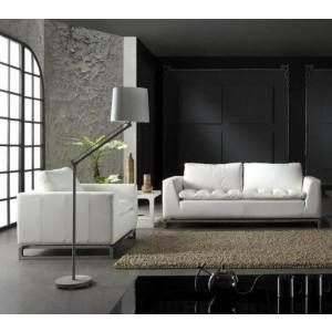 Manhattan Modern White Leather Sofa Set