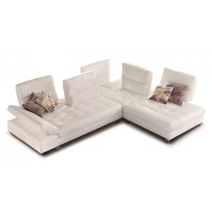 Gemma Leather sectional with sliding Backs by IDP Italia