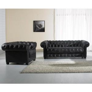 Paris Black Tufted Leather Sofa Set