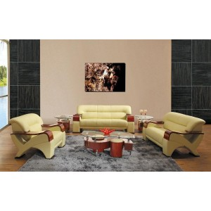 2034 Contemporary Leather Sofa set in Beige Color
