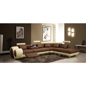 4086 Modern Bonded Leather Sectional Sofa with Recliners