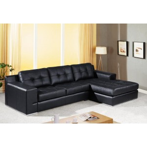 Jade Modern Black Leather Sectional Sofa