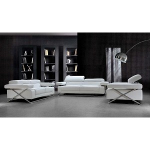 Linx Modern White Leather Sofa Set