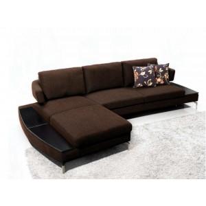 1077 - Brown Fabric Sectional Sofa